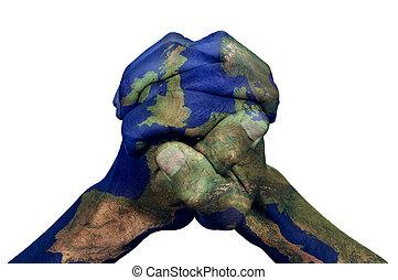 手が握り締められる, ヨーロッパ, (furnished, nasa), パターン装飾された, 地図