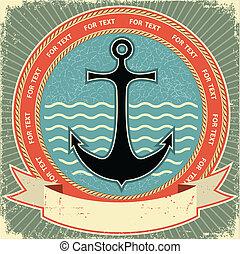 手ざわり, ラベル, ペーパー, 古い, anchor., 型, 海事