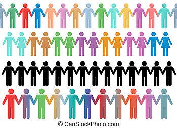 手を持ちなさい, 人々, シンボル, 横列, ボーダー, 多様