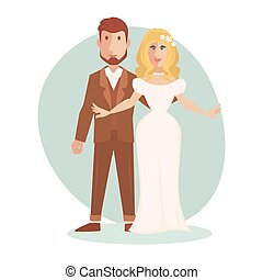手入れをしなさい。, 新婚者, ただ, 恋人, 結婚されている, 若い, イラスト, 花嫁, ベクトル, 幸せ