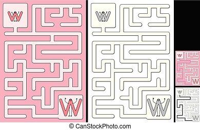 手紙, -, アルファベット, 迷路, 容易である, w