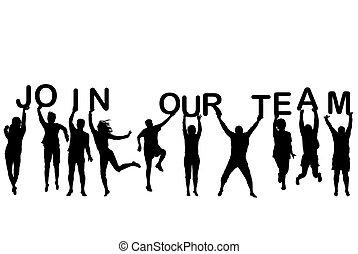 手紙, 保有物, 人々, 参加しなさい, シルエット, 言葉, チーム, 私達の