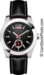 手首, 人, ベクトル, 腕時計, アナログ