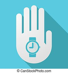 手首, 影, 腕時計, 長い間, 手