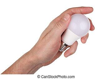 手, インストールしなさい, それ, lamp., 新しい, リードした, 年配, 隔離された, 人, 電球, ライト, 手掛かり, 彼の