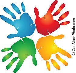 手, カラフルである, チームワーク, ロゴ, のまわり