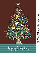 手, クリスマス, 多様性, 木