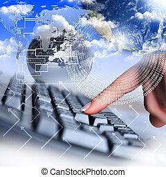 手, コンピュータ, 人間, キーボード