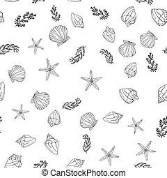 手, スタイル, ボヘミアン, 図画, seamless, インク, illustration., shells., 輪郭, パターン, 創造的, セット, art-work., ベクトル, シック, 引かれる, boho, 黒