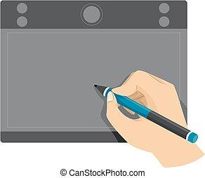 手, タブレット, 使うこと, ペン