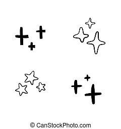 手, バックグラウンド。, いたずら書き, セット, 白, 引かれる, 星, 隔離された, 黒