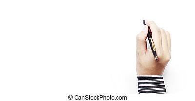 手, ペン, 背景, 白