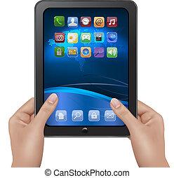手, 保有物, タブレット, デジタル