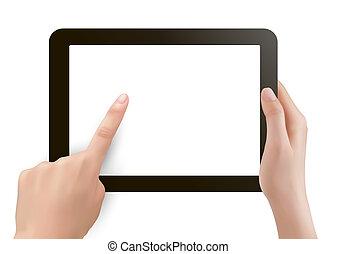 手, 保有物, タブレット, デジタル, pc
