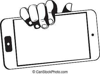手, 保有物, タブレット, 感触, -, コンピュータ, black-white, 小道具