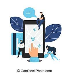 手, 分け前, 保有物, smartphone, app.