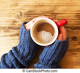 手, 暖かい, チョコレート, 保有物のコップ