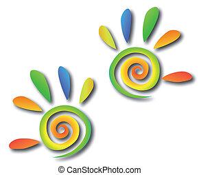 手, 有色人種, らせん状に動きなさい, ベクトル, fingers.
