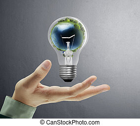 手, 電球, ライト