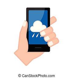 手, app, smartphone, 保有物, 予報