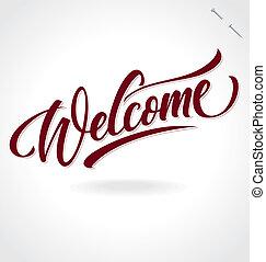 手, (vector), レタリング, 'welcome'
