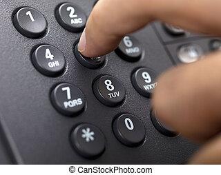 打撃, の上, 数, 電話, アイロンかけ, 指, 人間, 終わり, landline