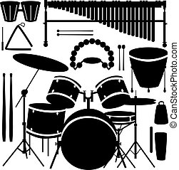 打楽器, ベクトル, 道具