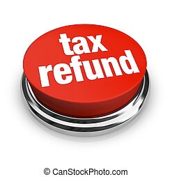 払い戻し, 税, ボタン, -, 赤