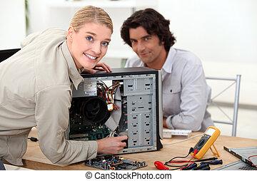 技術者, 固定, コンピュータ