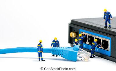 技術者, 接続, ネットワーク, ケーブル
