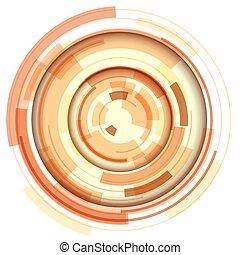 技術, レンズ, デザイン, 抽象的, 円, シンボル, 3d