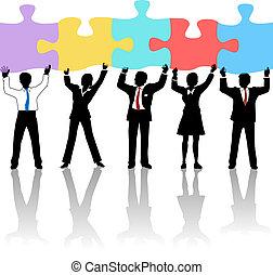 把握, 人々ビジネス, 困惑, チーム, 解決