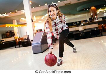 投げる, 女, ボール, ボウリング