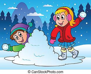 投げる, 子供, 2, ボール, 雪