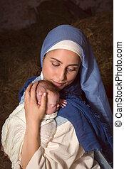 抱き合う, mary, イエス・キリスト, 赤ん坊