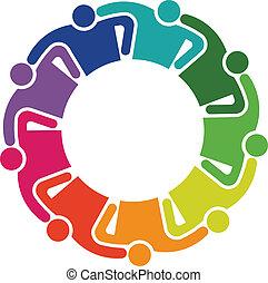抱擁, グループ, 人々, チームワーク, 9, ロゴ