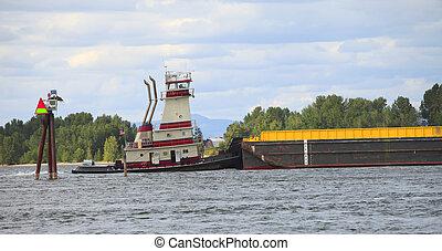押し, barge., ボート, &