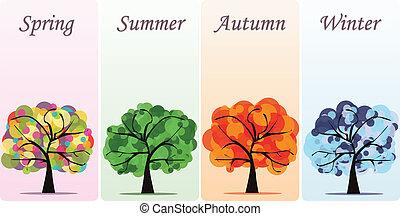抽象的, ベクトル, 季節的, 木