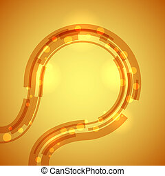 抽象的, 円, ライン, 黄色, バックグラウンド。, 技術