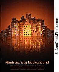 抽象的, 夜, 背景, 都市