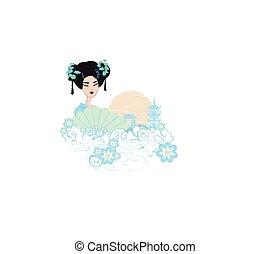 抽象的, 女の子, アジア人, 風景