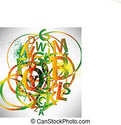 抽象的, 手紙, 背景, カラフルである