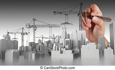 抽象的, 手, 引かれる, 建物