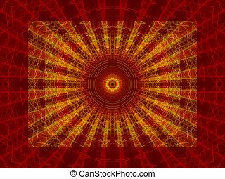 抽象的, 線, 背景, 金, 赤