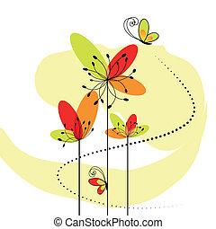 抽象的, 花, 春