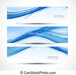 抽象的, 青, ヘッダー, ベクトル, 技術, 波