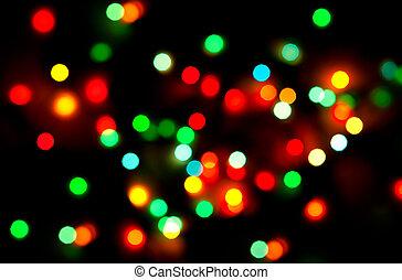抽象的, 黒い背景, ライト, クリスマス