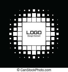 抽象的, halftone, デザイン, ロゴ, 白, 要素