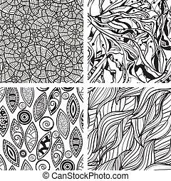 抽象的, seamless, 手, パターン, ベクトル, モノクローム, 引かれる
