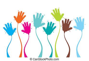 拍手, 面白い, 叩くこと, デザイン, 背景, 手, あなたの